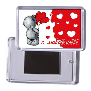 """Акриловый сувенирный магнит на холодильник """"С любовью!!!"""""""