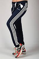 Темно синие спортивные штаны женские брюки с лампасами трикотажные на резинке (манжет) Украина