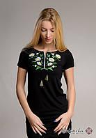 Чорна жіноча вишиванка у патріотичному стилі із рослинним орнаментом «Ромашки», фото 1