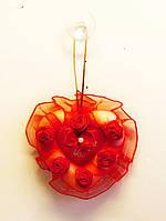 Сердечко красное  Валентинка на веревочке с присоской-12 шт.