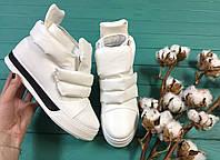 Сникерсы женские белые эко кожа на липучке осень, весна