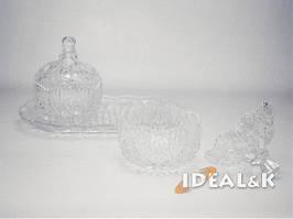 Набор 2 сахарниц стеклянных + поднос JZ-504-3 пр., сделана под хрусталь.