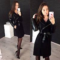 Женское стильное пальто черного цвета с пояском