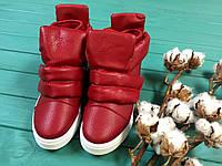Сникерсы женские красные эко кожа на липучке осень, весна