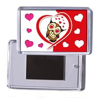 """Акриловый сувенирный магнит на холодильник любимой """"Влюблённая совушка"""""""