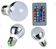 Светодиодная лампа 3 Вт E27 RGB 16-ти цветная с дистанционным пультом управления