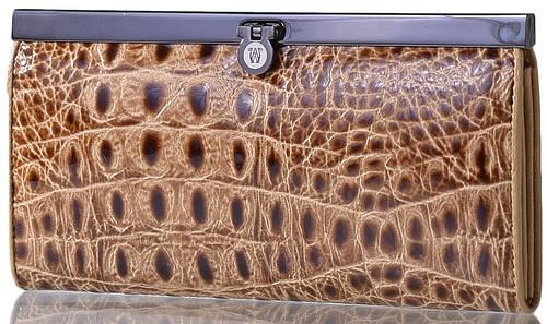 Вместительный кожаный женский кошелек WANLIMA (ВАНЛИМА) W50046749-beige
