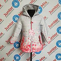 Демисезонная  детская  куртка в цветочки на девочку GRACE, фото 1