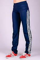 Темно синие прямые спортивные штаны женские брюки с лампасами трикотажные Украина
