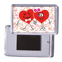 """Акриловый сувенирный магнит на холодильник любимому """"Два сердечка"""""""
