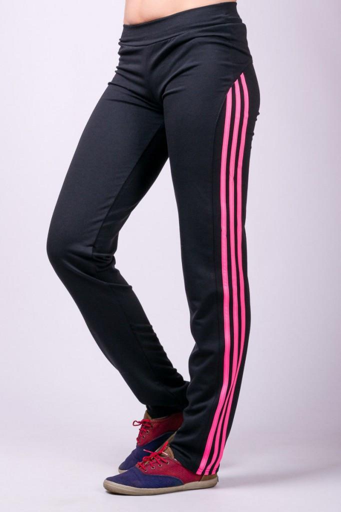 Прямі спортивні штани жіночі штани з лампасами чорні трикотажні Україна
