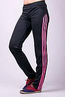 Прямые спортивные штаны женские брюки с лампасами черные трикотажные Украина