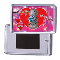 """Акриловый сувенирный магнит на холодильник на день влюбленных """"Мишка с подарком"""""""