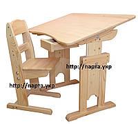 Детская парта и стул из дерева 80 см, шухляда, регулировки