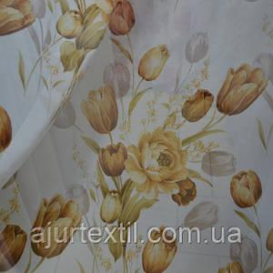 Тюль коричневый тюльпан