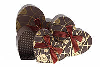 """Большие коробки для подарка, в виде сердца  """"Золотой шоколад""""(19x16.5x6.8cm)"""