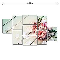 Модульная картина на холсте в спальню Нежные розы