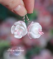 """Авторские серьги """"Бело-розовый жасмин"""", фото 1"""