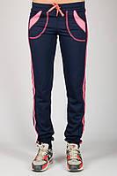 Спортивные штаны синего цвета женские брюки с лампасами трикотажные на резинке (манжет) Украина