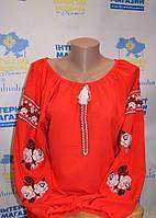 """Жіноча шифонова блузка  з вищивкою """"Вогняний півень"""""""