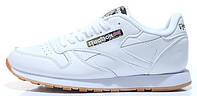 Мужские кроссовки Reebok Classic Leather White (Рибок Классик) в стиле белые