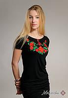 Вишита жіноча футболка на короткий рукав в українському стилі «Троянди на чорному», фото 1