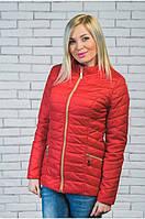 Женская короткая куртка демисезон красная