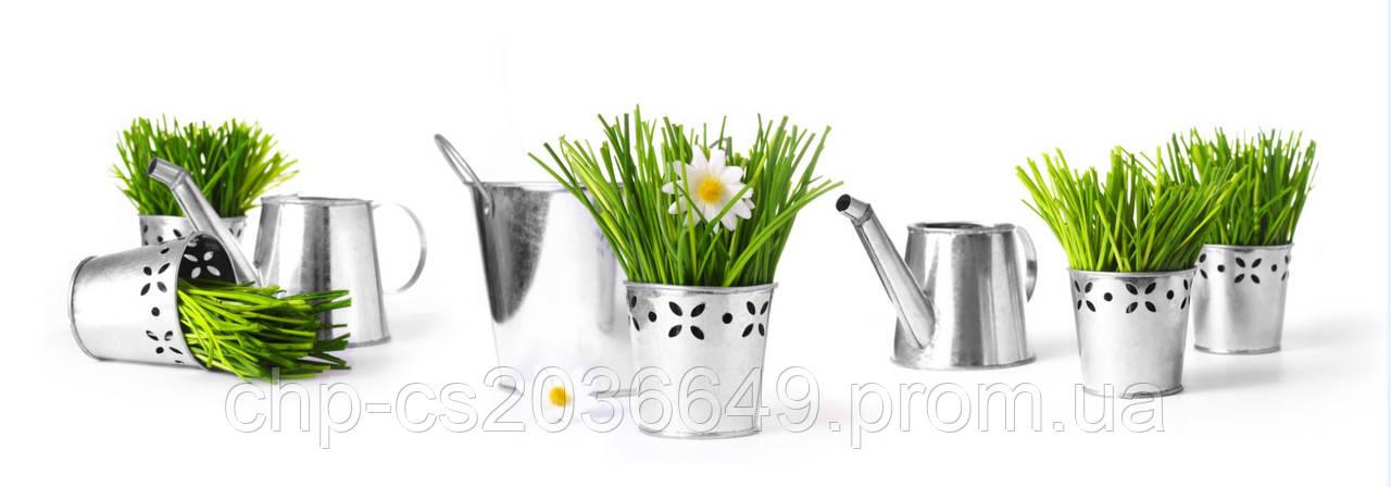 Стеклянный фартук для кухни - скинали лейка с цветами
