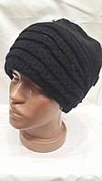 Женская шапка из ангоры с отделкой сзади Ажур черная