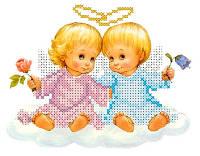 """Схема для вышивки бисером/крестом на габардине """"Два ангелочка"""""""