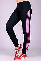 Спортивные брюки женские черные штаны с лампасами трикотажные на резинке (манжет) Украина
