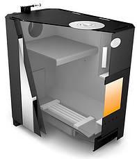 Печь отопительно-варочная Огнев ПОВ-150 ЧК С2 дверка со стеклом и конфорка, фото 2