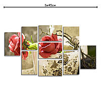 Модульная картина в гостиную с принтом Красные розы