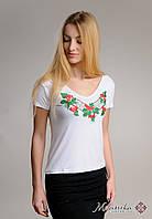 Жіноча біла вишита футболка на кожен день із V-подібним вирізом «Калина», фото 1