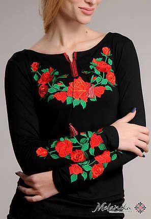 Чорна жіноча вишита футболка на довгий рукав із квітами «Троянда», фото 2