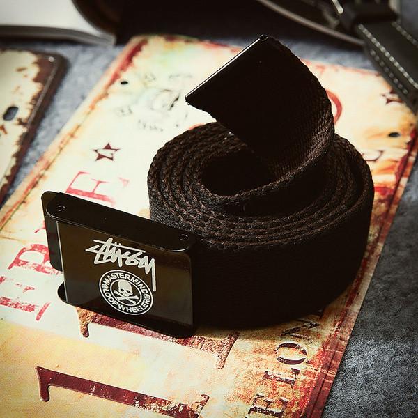 Текстильный ремень для джинсов черный Stussy (реплика)
