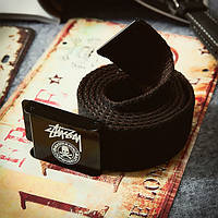Текстильный ремень для джинсов черный Stussy