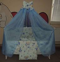 Детское постельное белье в кроватку Тедди в гамаке (голубой)Gold 9 в 1