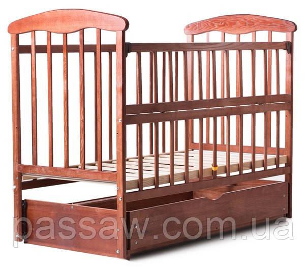 Кровать детская Наталка откидная боковина, с маятником и ящиком (ольха тёмная)