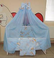 Комплект детского постельного белья в кроватку (голубой)  Жирафик Gold 9 в 1 (120Х60)