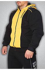 Мужская толстовка черная с желтым