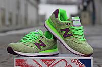 Женские кроссовкиNew balance encap 574, зеленые / кроссовки  женские  Нью Беланс инкап, текстиль, стильные