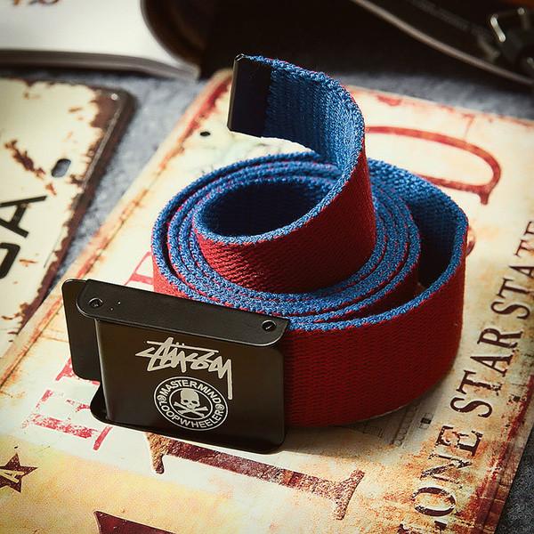 Текстильный ремень для джинсов красный Stussy (реплика)