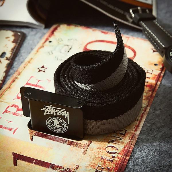 Текстильный ремень для джинсов черный с серым Stussy (реплика)