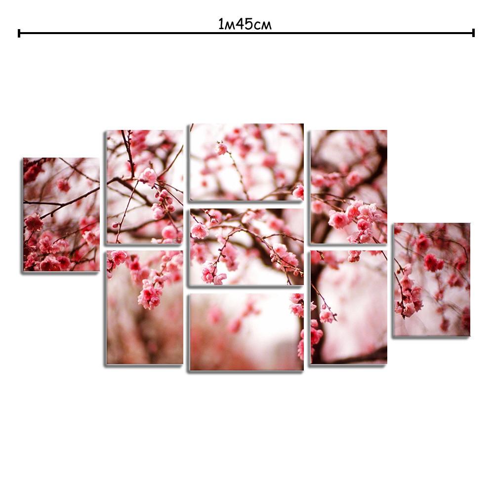 Модульная картина декор с принтом Цвет вишни
