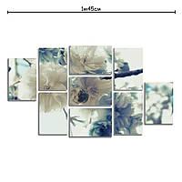 Модульная картина декоративная с принтом Белые цветы