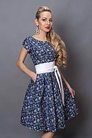 Нарядное платье из джинса в синий цветочек