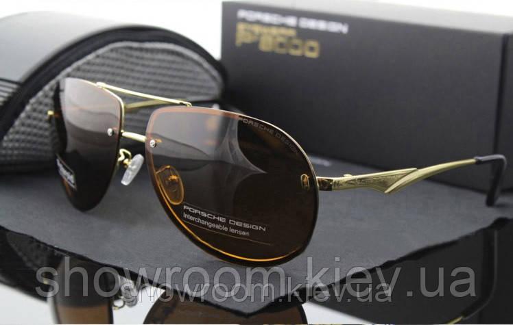 Солнцезащитные очки в стиле Porsche Design c поляризацией (p-8501) коричневая оправа
