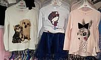 """Трикотажный реглан для девочек """"Собачка"""", разм. 98-128 , Glo-story (Глостори), aрт. GCX-2091, Венгрия"""