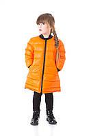Детский пуховик двусторонний (оранжевый/черный)